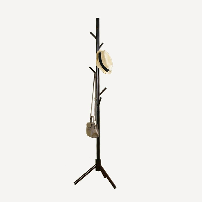 HAIYING Coat Rack Floor Wood Hanger Simple Bedroom Clothes Rack Home Floor Creative Hanger 8 Hooks (color   Black)
