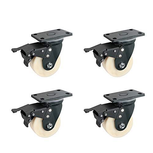 Casters HXLQ transportwielen (4 stuks), zwenkwielen met dubbele veiligheidsrem, zware meubelwielen, kunnen wielen blokkeren, 4/5/6/8 inch