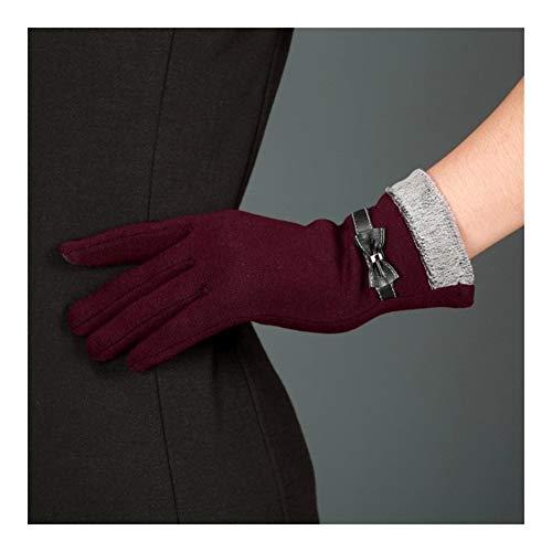 Frauen Bowknot-Winter-warme Handschuhe Fäustlinge Elegante Dame Winter Handschuhe Solide PU-Leder-Handschuhe Frauen NEU (Color : Red, Size : One Size)