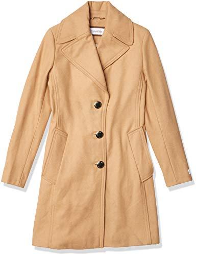 Calvin Klein Women's Single Breasted Spread Collar Wool Jacket, CAMEL, X-Large