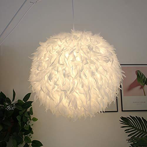 HUUSYGZH Luz del Colgante del Techo de la luz de la Pluma, lámpara esponjosa techos techos de la lámpara de pie de ensueño Shade E27 Lámpara Lightshade para la decoración del Dormitorio,L