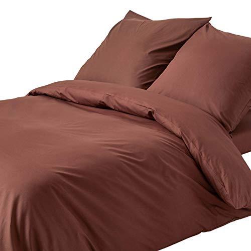 Homescapes Bettwäsche-Set 2-teilig Bettbezug 155 x 220 cm mit Kissenhülle 80 x 80 cm schokobraun 100% reine ägyptische Baumwolle Fadendichte 200 Perkal-Bettwäsche