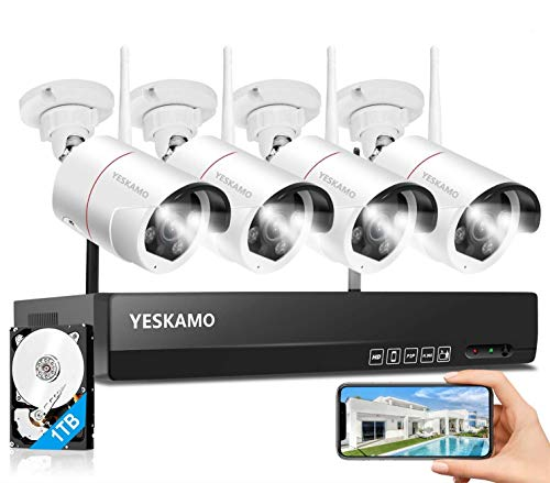 YESKAMO Überwachungskamera Set Flutlicht Aussen WLAN,3MP IP Cameras mit 8CH NVR 5MP Überwachungssystem mit 1TB HDD für Hausalarmanlagen mit AI PIR Erkennung,farbig Nachtsicht,Zweiweg Audio&Aufnahme