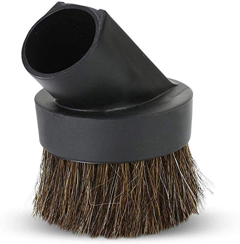 ALL PARTS ETC. Horse Hair Vacuum Attachment 1.25' Round Dust Brush, 1-1/4 Vacuum Dusting Brush, Duster Sweeper Hair Bristle Brush Compatible with Shop Vac, Oreck, Hoover and other Central Vacs