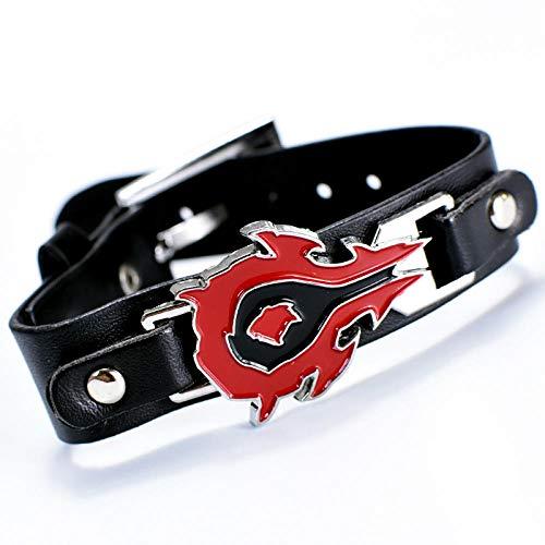 LVQIANHOME Naruto - Pulseras simples para hombre, de acero de titanio, joyería retro, moda deportiva y de ocio, pulseras de cuero personalizadas con caja de regalo