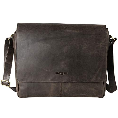 HOLZRICHTER Berlin - Premium Umhängetasche (M) aus Leder - Handgefertigte Messenger Bag im Vintage Design - Ledertasche für Herren und Damen - Dunkelbraun
