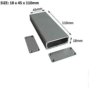 SENRISE caja de aluminio para proyectos electrónicos, caja de instrumentos para proyectos electrónicos, unidades de fuente de alimentación (18 x 45 x 80 mm), color negro, negro: Amazon.es: Bricolaje y herramientas