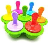 ROVE Mini Stampo in Silicone per ghiaccioli, 7 Scomparti Fai da Te, con Bastoncini di plastica Colorati, ghiaccioli per Uova, Lecca e Gelato, Contenitore per Alimenti per Bambini (Verde)