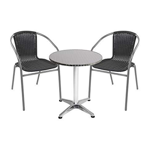Mojawo - Conjunto de mesa y sillas de jardín (3 piezas, aluminio, 60 x 70 cm, altura regulable de 110 cm, 2 sillas apilables, acero/ratán), color plateado y negro