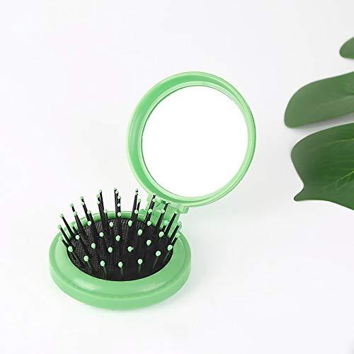 LZWOZ 1pc Pliant Peigne Sac d'air avec Miroir de Poche Compact Taille Portable Brosse à Cheveux cosmétiques Voyage Mirror Head Massager Relax (Color : Light Green)