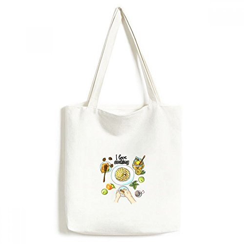 DIYthinker Ik hou van koken Beaten Eieren Honing Milieuwasbaar Winkelen Tote Canvas Bag Craft Gift