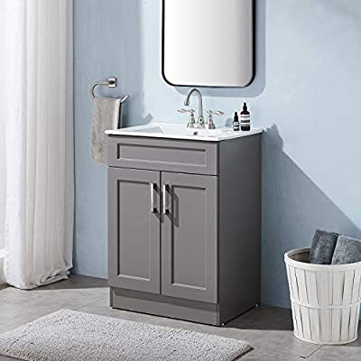 """24"""" Small Gray Bathroom Vanity with Sink,Storage Cabinet with White Ceramic Vessel Basin Top Vanity Sink Combo Bathroom Cabinet Set"""