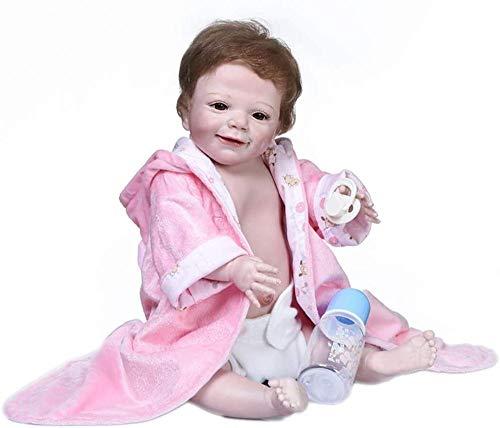 XYBHD 55cm Cuerpo Completo Silicona Bebe Muñeca Reborn Baby Abril Despierto Soft Real Touch Bath Toy Coleccionable Muñeca Arte