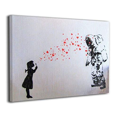 XINGAKA バンクシー 女の子 宇宙飛行士 アートパネル モダンアート 壁の芸術 装飾画 壁の絵 背景絵画 キャンバス絵画 壁掛け 部屋飾り 装飾絵 お祝いやプレゼントに 木枠付きの完成品 軽くて取り付けやすい40*30cm