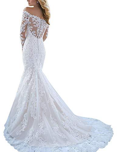 Kant bruidsjurk bruiloftsjurk lang tule A lijn avondjurken bruidsjurken huwelijksjurken Gowns met sleep