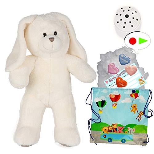 Splodge Teddy Parties - Peluche de conejo blanco - 40 cm - Construye tu propio kit de oso de peluche con grabadora de voz de 20 segundos