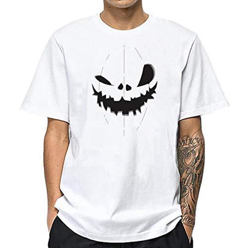 Xniral Kurzarm Oberteile Herren Muster Gedruckt Karikatur Rundhalsausschnitt Weiß Tees Shirt Baumwolle Frühling und Sommer T-Shirt(Weiß 1,L)