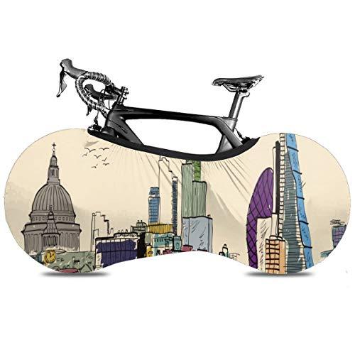 Area Rug London City Skyline - Funda para bicicleta de interior, antipolvo, alta elasticidad, para bicicleta, protección contra desgarros, neumáticos de carretera, bolsa de almacenamiento, Alfombra de área London City Skyline, talla única