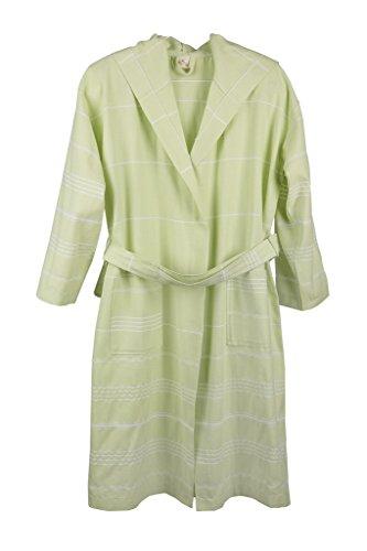 Cotton&Olive Trendige Unisex Leicht Quick Dry hellgrün Farbe Kapuzen türkischen Pestemal Bademantel Größe L-XL