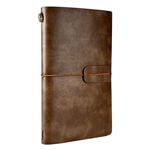 Taccuino Pelle, Rymall Diario di Viaggio Taccuino in Pelle Ricaricabile & Quaderno Vintage, Travel Notebook Pocket per La Scrittura Migliore Regalo, 4.72 X 7.87 lnch, Marrone