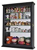 Wall Curio Cabinet with Glass Shelves and Door, Mirrored Background SC06B (Black)