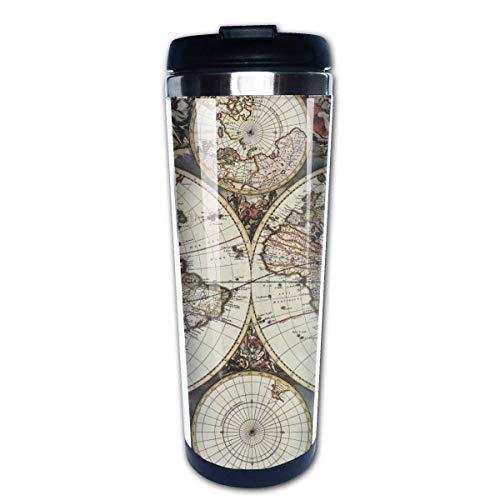 Taza de café de viaje Mapa del mundo antiguo Taza de café con aislamiento de acero inoxidable Botella de agua deportiva 13.5 oz (400 ml) MUG-4193