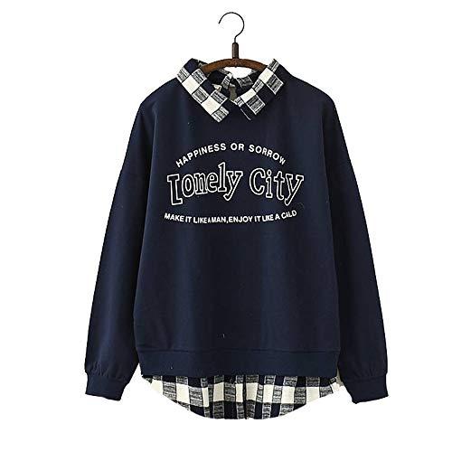 Vdual Japanisch Cool Ulzzang Kapuzenpullover Trend Mode Glück Zitat Drucken Kariert Plaid Muster Innere Lange Ärmel Weiß Dunkel Blau Zur Seite Fahren