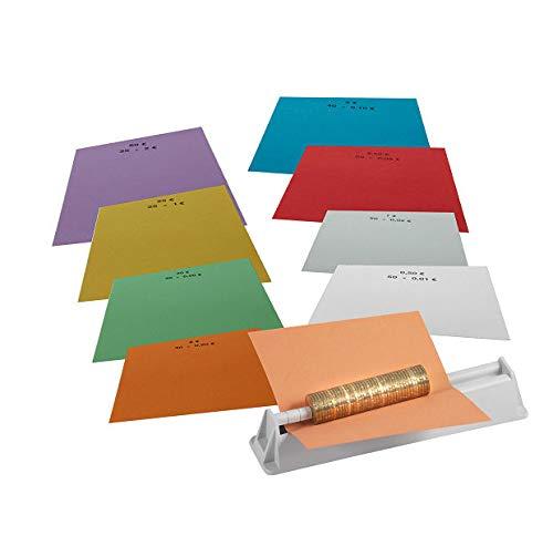 INKiESS Münzroller MR 8 inkl. Handrollpapier 1 Satz je 50 Blatt (2 Euro bis 1 Cent)
