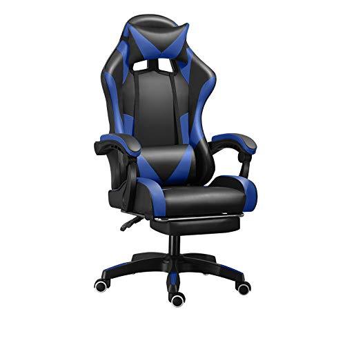 Silla ergonómica de piel para videojuegos con reposapiés,silla de oficina silla de escritorio de carreras de ordenador,silla de respaldo alto,reclinable,apoyabrazos acolchado,soporte lumbar