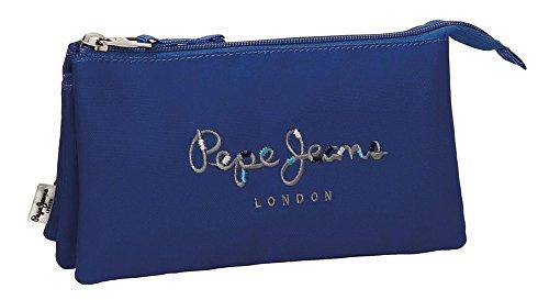 Estuche Pepe Jeans Harlow Azul Marino tres compartimentos