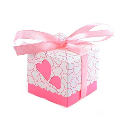 KHHGTYFYTFTY 100pcs Rosa del Favor del Caramelo de la Boda Cajas Tratar Cajas Cajas de Regalo con la Cinta de Fiesta de la Boda del bebé del cumpleaños decoración Ducha