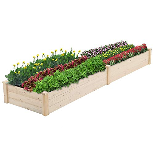 CrownLand Outdoor Gardens 8 ft Raised Garden Bed Wooden Garden Box Patio Raised Beds Backyard Elevated Garden Bed Planter Box Grow Vegetables Fruits Herb Yard Fast Easy Assembly