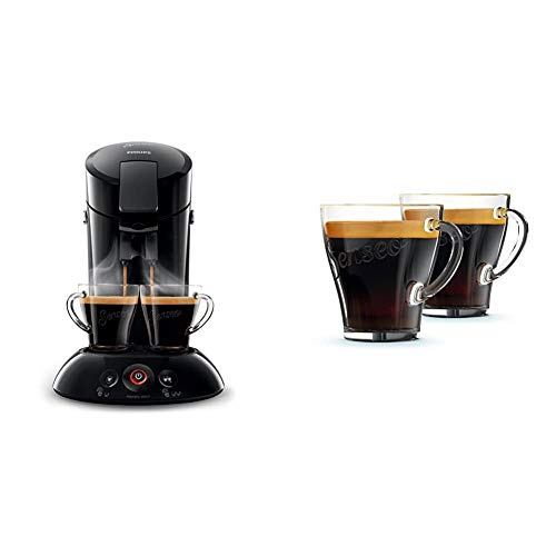 Philips HD6554/68 Senseo Kaffeepadmaschine, schwarz & Philips Senseo CA6510/00 Kaffeegläser, 2 Stück
