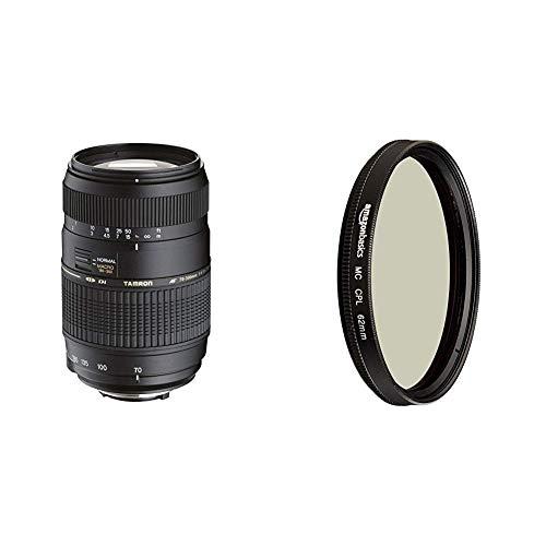 Tamron AF017NII-700 AF 70-300mm 4-5,6 Di LD Macro 1:2 digitales Objektiv mit Built-In Motor für Nikon & AmazonBasics Zirkularer Polarisationsfilter - 62mm