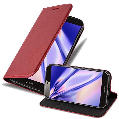 Cadorabo Hülle für Huawei G7 Plus / G8 / GX8 in Apfel ROT - Handyhülle mit Magnetverschluss, Standfunktion & Kartenfach - Hülle Cover Schutzhülle Etui Tasche Book Klapp Style