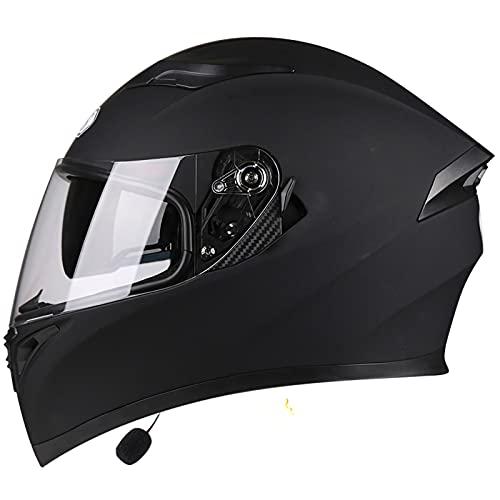 Bluetooth Casco Moto Integral,ECE Aprobado Casco Scooter con Doble Visera Anti Vaho para Hombre Mujer Casco de Motocicleta para Adultos A,XXXL63~64cm