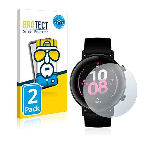 BROTECT Full-Cover Schutzfolie kompatibel mit Huawei Watch GT 2 (42 mm) (2 Stück) - Full-Screen Bildschirmschutz-Folie, 3D Curved, Kristall-Klar
