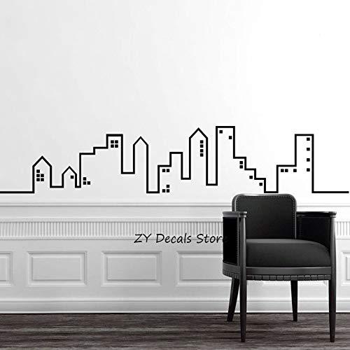 zhuziji Character Wall Stickers Themed,City Skyline S Home S Play S REN Nordic Bedroom, Campus, Kindergarten with Vinyl Pvc183x36cm