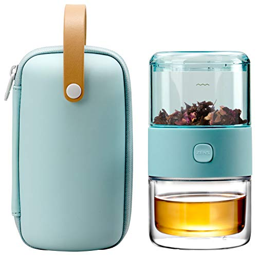 ZENS Travel Tea SetTritan Portable Teapot Infuser Set for One with 200ml Double Walled Teacup for Loose TeaTo Go Light Green Travel Case for Office or Homeworking Daily Tea