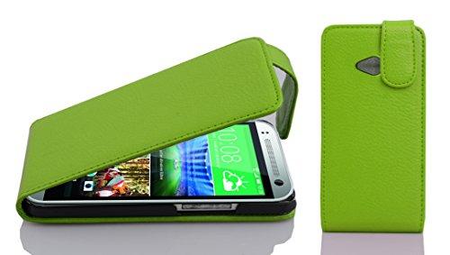Cadorabo Hülle für HTC ONE M8 Mini (2.Gen.) - Hülle in Apfel GRÜN – Handyhülle aus Strukturiertem Kunstleder im Flip Design - Case Cover Schutzhülle Etui Tasche