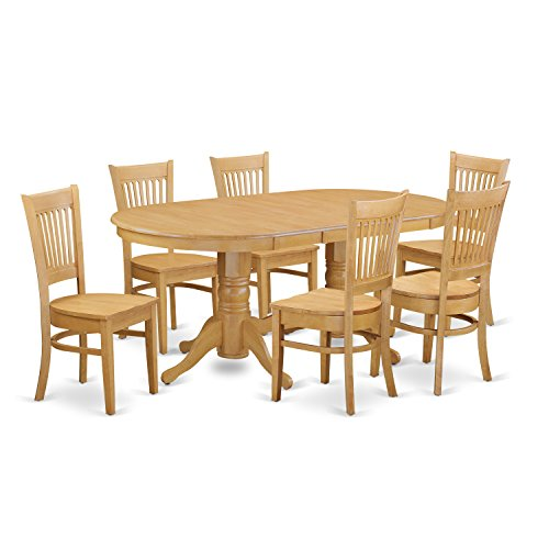 VANC7-OAK-W 7 Pc Dining room set Dining Table with Leaf and 6 Dining Chairs