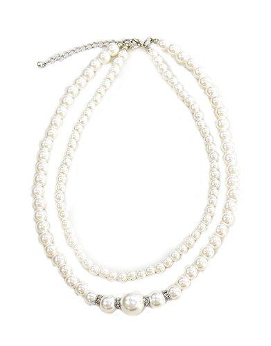 (コウエイストア)koeistore パールネックレス 真珠 首飾り 2連 ラインストン フォーマル 結婚式 パーティースタイル レディース AP25-f