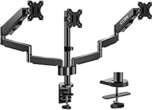 MOUNT PRO Triple Monitor Desk Mount - Articulating Gas Spring Monitor Arm, Removable VESA Mount Desk Stand with Clamp and Grommet Base - Fits 13 to 27 Inch LCD Computer Monitors, VESA 75x75, 100x100