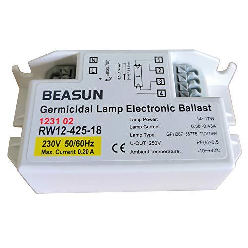 TEPRO RW12-180-10 RW12-425-18 230V 8W 16W Entkeimungslampe mit Elektronischem Vorschaltgeräte für Lampe TUV16W (RW12-425-18)