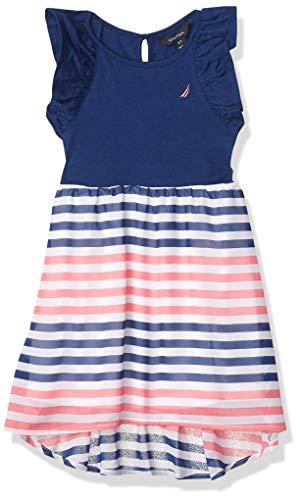 Nautica Girls' Sleeveless High Low Hem Dress, Chiffon Deep Navy, M8/10
