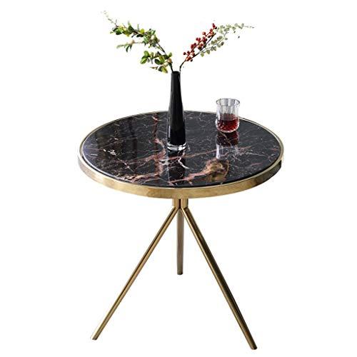 KST eenvoudige marmeren bijzettafel, driebenige ronde kleine salontafel, geschikt voor thuis, winkel, rood patroon