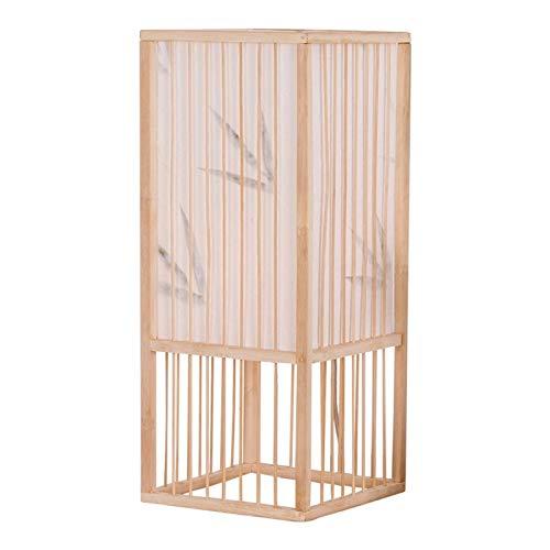 Lámpara para mesita de noche oriental Estilo Lámpara de mesa decorativo 16.9' simple lámpara de mesa retro hecho a mano chino de bambú tejido dormitorio lámpara de cabecera de la sala Salón de té fres