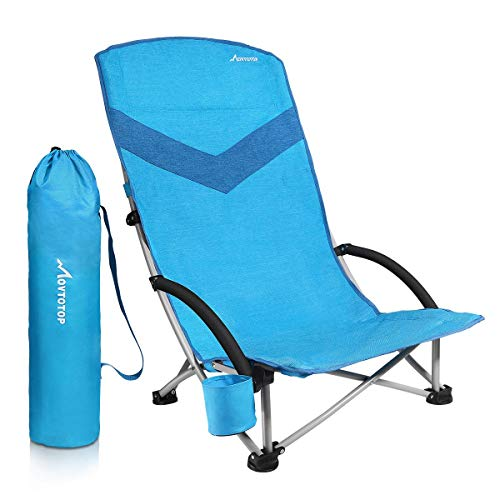 MOVTOTOP Folding Camping Beach Chair, 2021 Newest Portable Outdoor Backpack Camping Chair, High Back Rest Patio Chairs with Carry Bag Heavy Duty 300 lbs Capacity