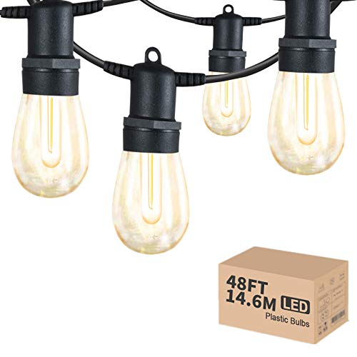 Outdoor String Lights LED,48ft Commercial Grade IP65 Waterproof String Lights,15 Hanging Sockets with 15+1Pcs 1W Plastic LED Bulbs,Warm White,Garden Lights for Wedding Christmas