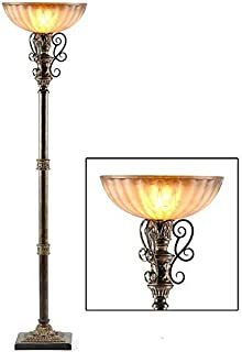 Large Standing Lamp - Lafayette Torch with Tortoise Finish and Ornate Metal Scroll Work | Provides Extra Light by a Chair or in Any Room | Measures 74